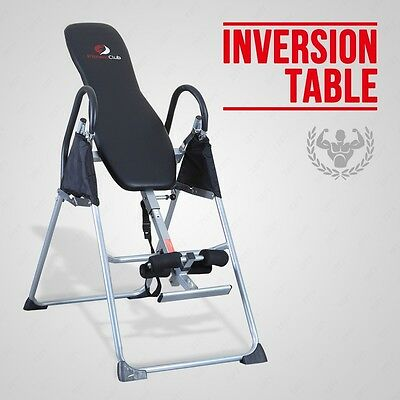 Black Inversion Table Deluxe Fitness Chiropractic Back Pain Relief Reflexology