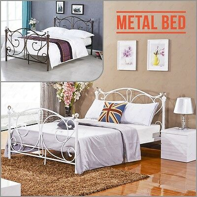 4FT 4FT6 Double 5FT King Metal Bed Frame with Crystal Finials White and Bronze