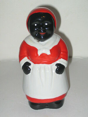"Aunt Jemima Ceramic Coin Bank Black Americana 6"" Tall in Black/Red & White"