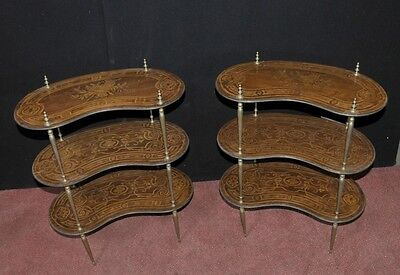 Pair Antique French Empire Shelf Unit Bookcase Kidney Bean Tier