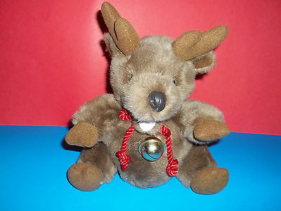Rare Walt Disney Furry Brown Reindeer Bear Plush with Jingle Bell Necklace GUC