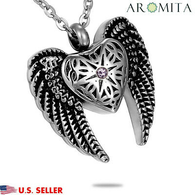 NEW Angel Heart &Wings Cremation Jewelry Ashes Keepsake Memorial Urn Necklace US