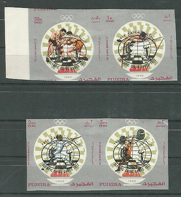 Fujeira 1971 Chess Ovpt for 1972 Olympiics. Short set. 4/5. Imperf.  MNH. VF