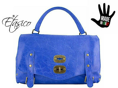 e2360a2c2c4b Italian Leather Handbags Made in Italy Antique Studded Etasico Kamelia Blue  Bags