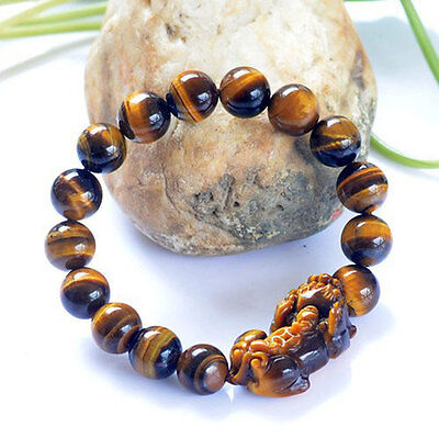 Authentic 5A Grade Tiger Eye Beads Pi Yao/ Pi Xiu Feng Shui Bracelet 15 Beads