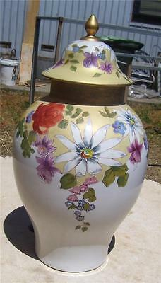 Lovely Large Hand Painted Signed Ceramic Lidded Floral Urn 15'' High