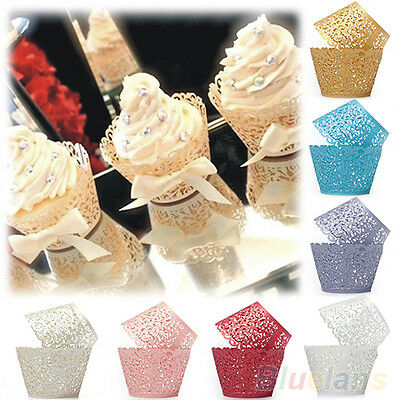 50x Filigree Lace Cup Cake Cupcake Wrappers Wraps Liners Birthday Wedding Party