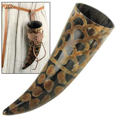 Scales Medieval Drinking Horn with Brown Leather Holder