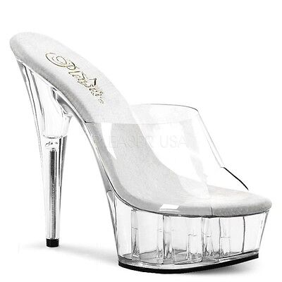 Delight-601, Plateau High Heels Mules transparent