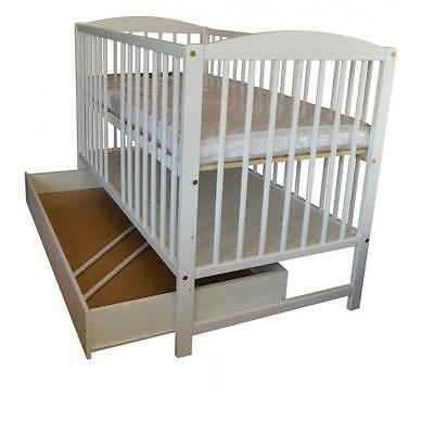 Big Sale!!! Classic Wooden White Baby Cot With Drawer And Free Mattress
