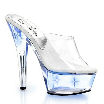 KISS-201LT, Stiletto Plateau Pantolette klar blue Lights