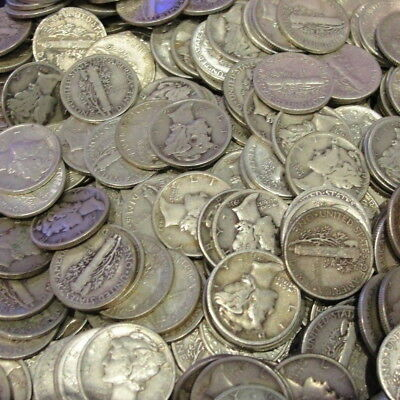 $5.00 Face Value Mercury Silver Coins! Us 90% Dimes (50) Total Coins Invest!!