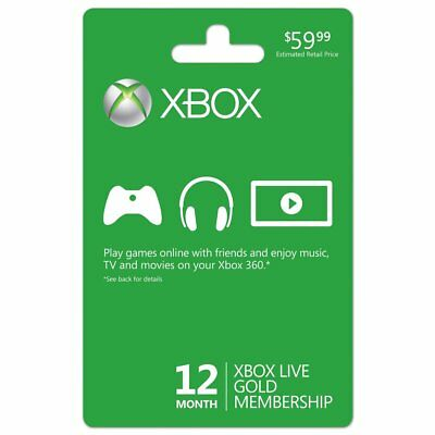 Xbox 360/One Live 12 Month Gold Membership Subscription Card Instant Shipping