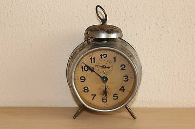 Vintage Metal Clock Made In Germany Working Hamburg American - 4'' in diameter