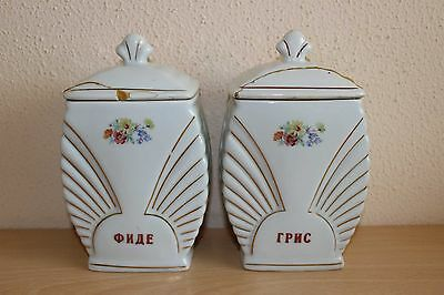 Vintage Pottery Kitchen Storage Canister Jars Set Floral - Semolina and Noodles