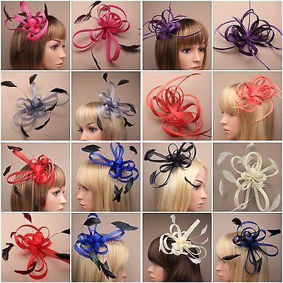 Pink Coiled Net and Feather Fascinator on a clear comb Fab Fuchsia Fascinator