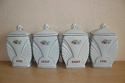 Vintage Pottery Kitchen Storage Jars Set Floral - Rice Sugar Semolina Pepper