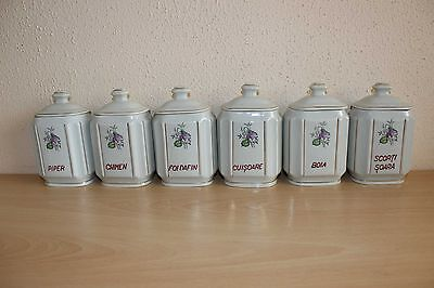 Vintage Pottery Kitchen Storage Canister Jars Set Floral - Spices Complete