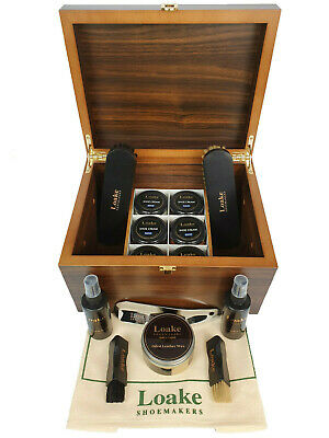 Loake Soes Valet Classy Luxury Shoe Care Wood Box Cleaning Set 15 Pieces