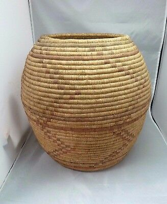 "Native American Large Weave Basket Bowl. Very Nice Design. Approx 14"" T x13.5"" D"