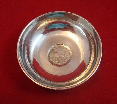 Antique Engraved Silver Dish or Bowl with Iranian 2 Rial Coin