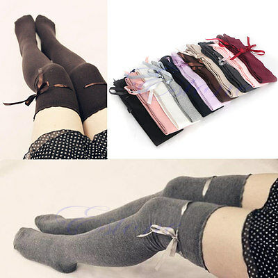 Women Over Knee Thigh High Cotton Stocking Long Knitted Boot Hosiery Socks
