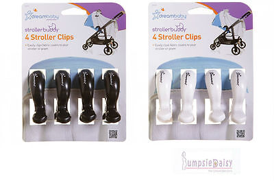 Dreambaby Stroller Pram Pegs Clips 4 Pack White or Black keep shade attached