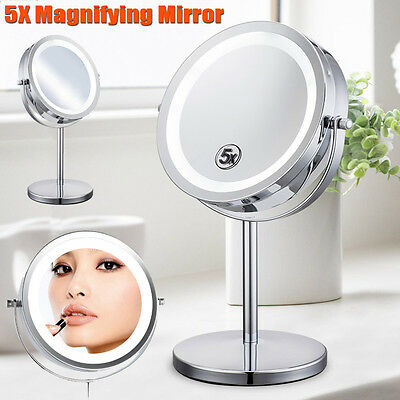 6'' Portable Lighted 1x &5x Magnification Mirror/LED Light/Beauty/Make-up 2 Side