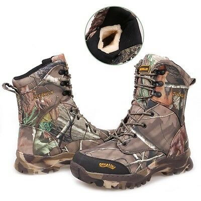 Winter Wool Hunting Shoes Bionic Camouflage Waterproof Boots f Hiking Camping