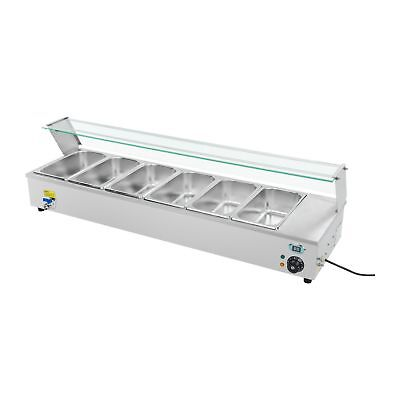 6 Pan Wet Well Bain Marie Food Warmer Holder 1/3 Gn Containers New 1800 W 230 V