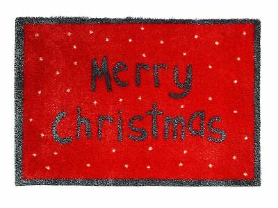 Merry Christmas Red Non-Slip Washable Outdoor Holiday Floor Rug Doormat 75x50cm