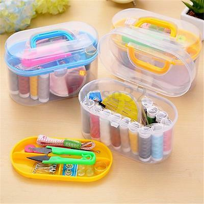 New Threader Needle Thread Tape Measure Scissor Thimble Storage Box Sewing Kits