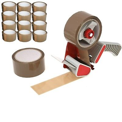 "Tape Gun Dispenser +12 Big Rolls Of Brown Buff Parcel Packing Tape 2"" 48mm x 66m"