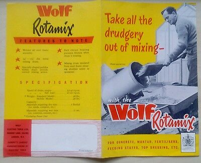 Vintage Collectable Brochure For Wolf Rotamix Cement Mixers, Ealing,london 1959