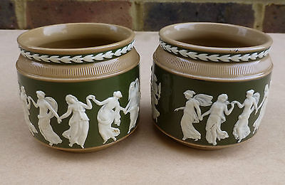 2 X COPELAND SPODE Small Jasperware Vases decorated with Dancing Ladies RN180288