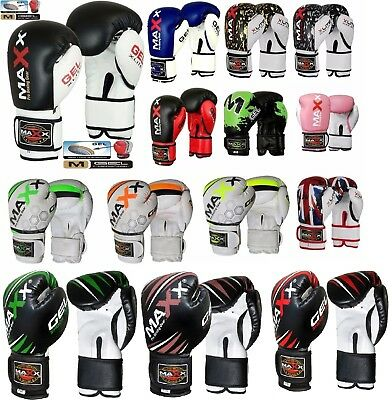 Maxx Maya Leather Boxing Gloves Fight PunchBag MMA Muay thai Grappling Pad Glove