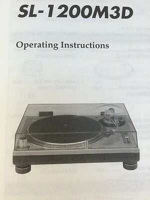 Technics SL1200 M3D Turntable Original Owners Manual 10 Pages, Collectors Item
