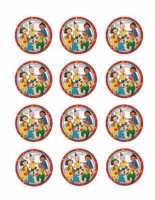 CAILLOU 12 Edible CUPCAKE Toppers Frosting Circles Icing Image Decoration