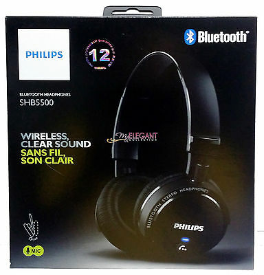 Philips Bluetooth Wireless On-The-Ear Foldable Headphone Headset SHB5500BK Black