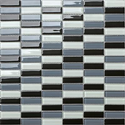 Black Grey White Glass Walls Borders Splashback Mosaic Wall Tiles 015