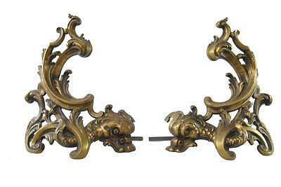 Antique Nautical Bronze Dolphin Andirons