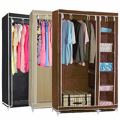 Double Canvas Wardrobe With Hanging Rail Shelves Home Furniture Storage