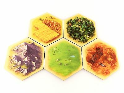 Settlers of Catan 5e Replacement / Expansion Land Terrain Hex Tile Set 5pc