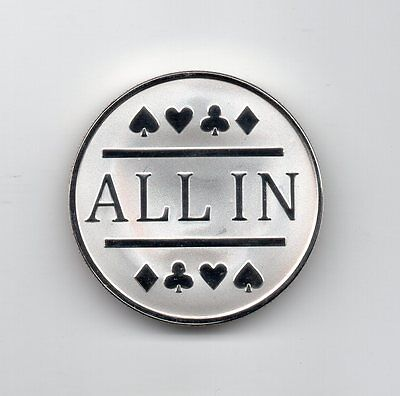 1x Silver Clad All In Poker Chip / Card Protector Bounty Tournament Chip Coin