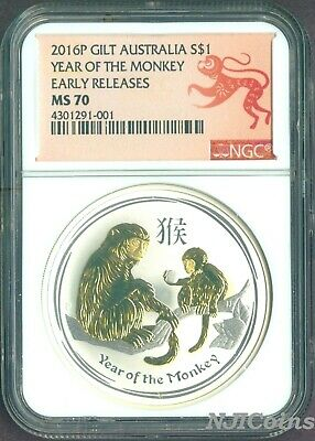 2016 Australia GILDED Silver Lunar Year of the Monkey NGC MS 70 1oz Coin ER GILT