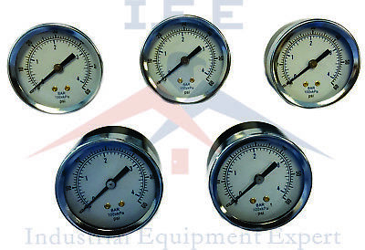 "5 Pack Air Compressor Pressure Gauge 2"" Face Back MT 1/8"" NPT 0-60 PSI"