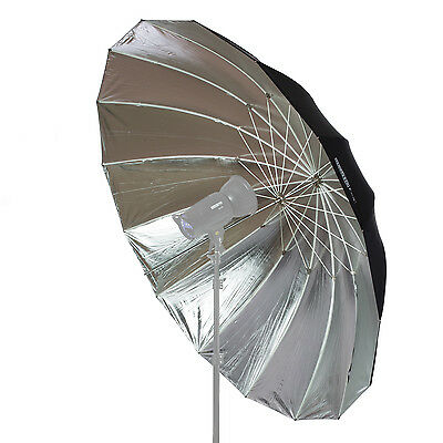 StudioPRO Photography Professional Silver with Black Parabolic Umbrella - 6 feet