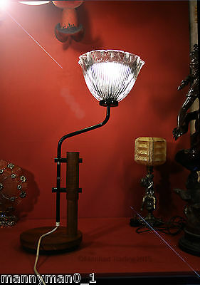 Original 1910-1940 Art & craft industrial Mahogany Steel Patented Holophane lamp