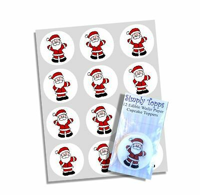 24 Santa Father Xmas Cupcake Decoration Edible Cake Toppers Cut 40mm Christmas