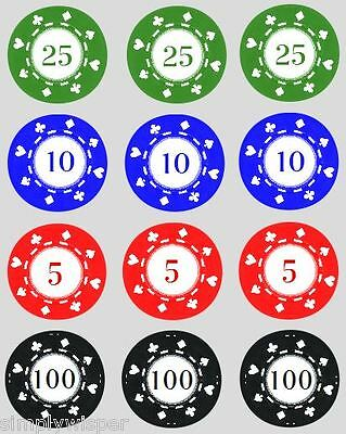 12 Poker Chips Cupcake Decoration Edible Cake Toppers Casino PreCut Chip 40mm